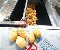多臺組合連續式土豆片去皮清洗機大型工廠